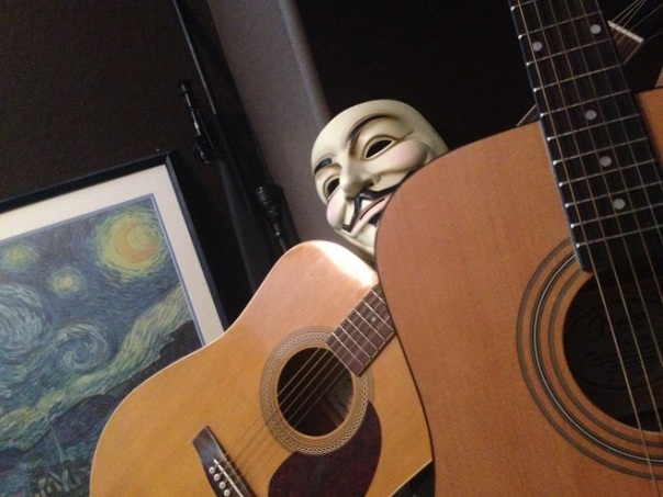 versability anonymous guitars and mask starry night